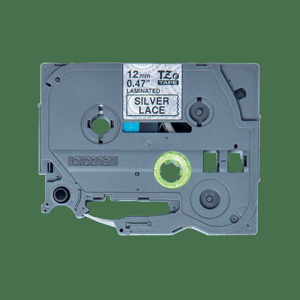 Cassette à ruban pour étiqueteuse TZe-MPSL31 Brother originale – Noir sur motifs dentelle argent, 12mm de large 0