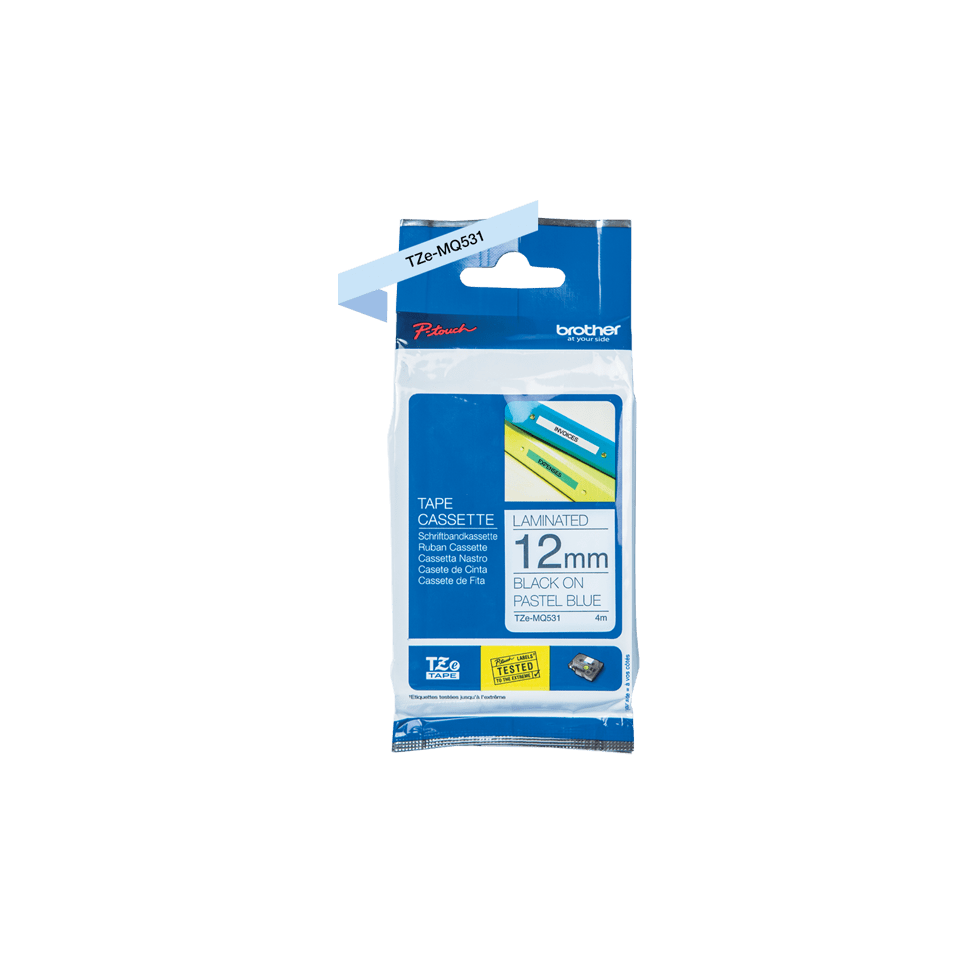 Cassette à ruban pour étiqueteuse TZe-MQ531 Brother originale – Noir sur bleu pastel, 12mm de large 1