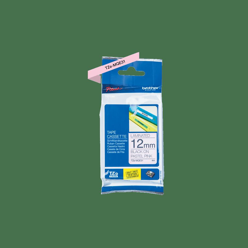 Cassette à ruban pour étiqueteuse TZe-MQE31 Brother originale – Noir sur rose pastel, 12mm de large. 2