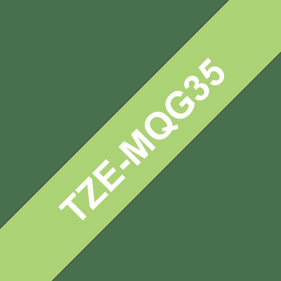 Cassette à ruban pour étiqueteuse TZe-MQG35 Brother originale – Blanc sur vert citron, 12mm de large 3