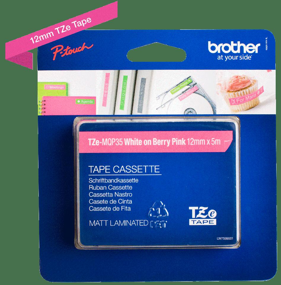 Cassette à ruban pour étiqueteuse TZe-MQP35 Brother originale – Blanc sur rose fuchsia, 12mm de large 2