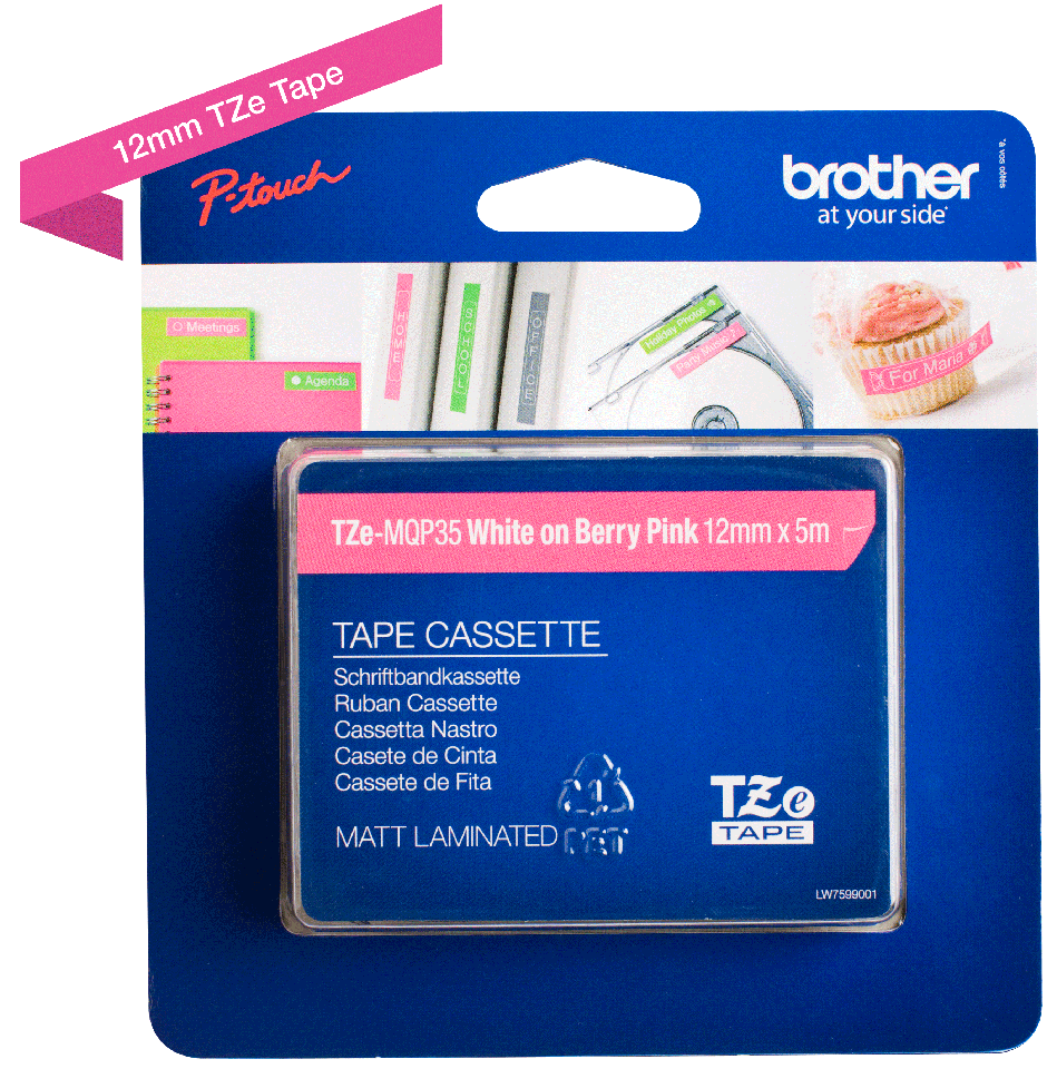 Cassette à ruban pour étiqueteuse TZe-MQP35 Brother originale – Blanc sur rose fuchsia, 12 mm de large 2