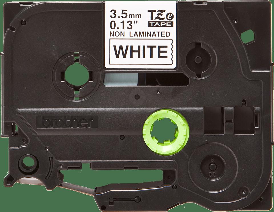 Cassette à ruban pour étiqueteuse TZe-N201 Brother originale – Noir sur blanc, 3,5mm de large