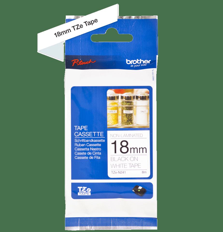 Cassette à ruban pour étiqueteuse TZe-N241 Brother originale – Noir sur blanc, 18mm de large 1