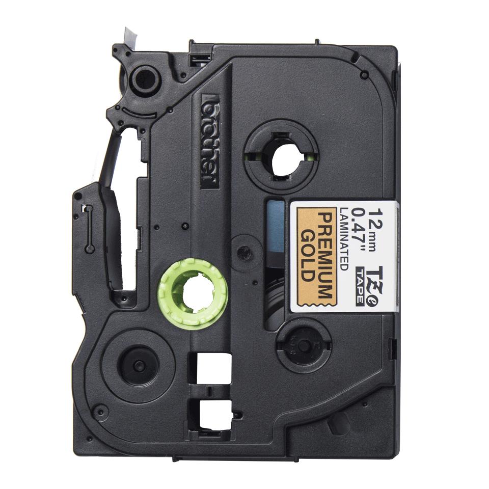 TZe-PR831 ruban d'étiquette noir sur or premium - 12mm