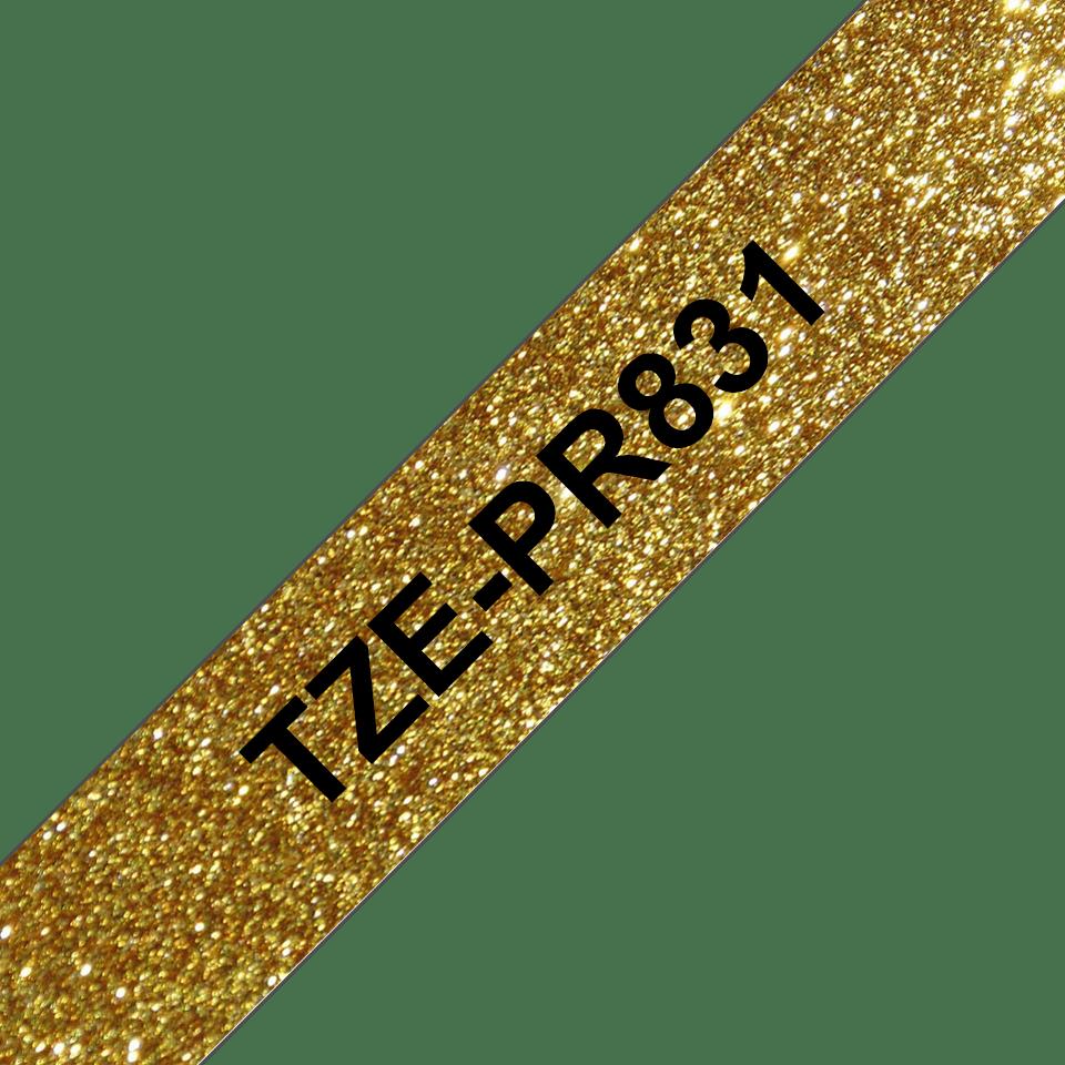 TZe-PR831 ruban d'étiquette noir sur or premium - 12mm 3