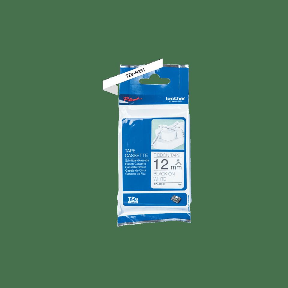 Cassette à ruban tissu TZe-R231 Brother originale – Noir sur blanc, 12mm de large 2