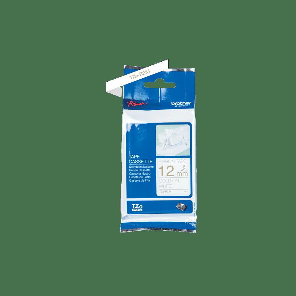 Cassette à ruban tissu TZe-R234 Brother originale – Or sur blanc, 12mm de large 1