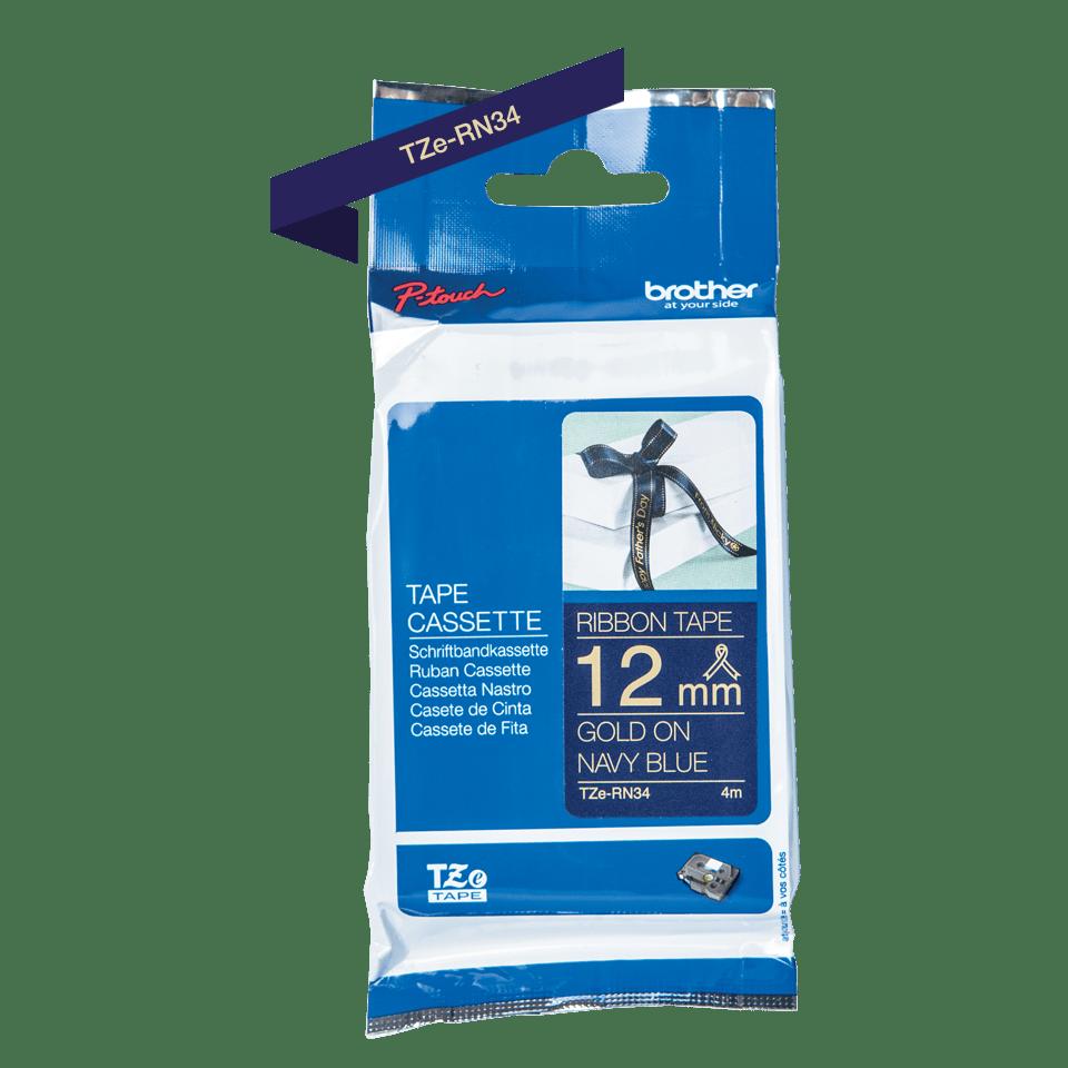 Ruban tissu pour étiqueteuse TZe-RN34 Brother original – Or sur bleu nuit, 12mm de large