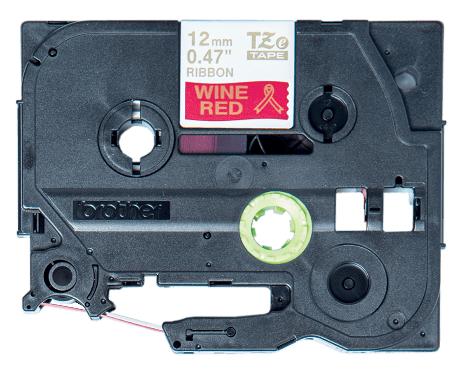 Cassette à ruban tissu TZe-RW34 Brother originale – Or sur bordeaux, 12mm de large