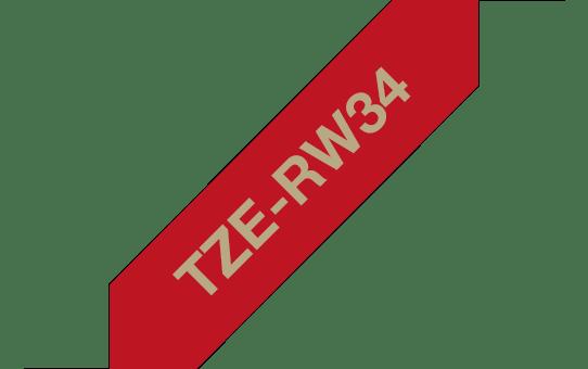 Cassette à ruban tissu TZe-RW34 Brother originale – Or sur bordeaux, 12mm de large 3