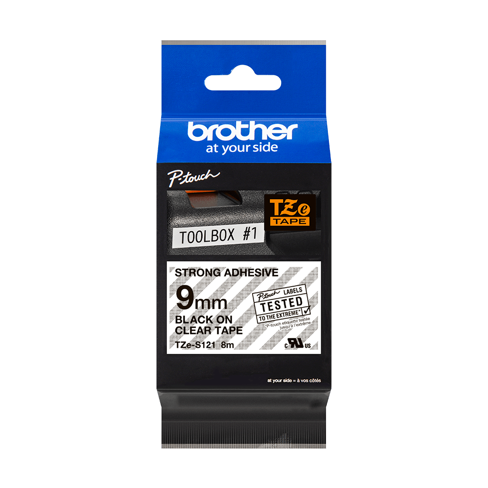 Cassette à ruban pour étiqueteuse TZe-S121 Brother originale – Noir sur transparent, 9 mm de large 2
