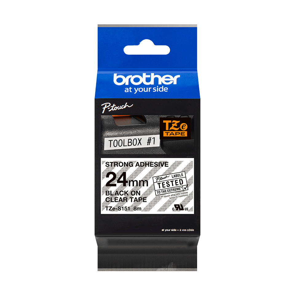 Cassette à ruban pour étiqueteuse TZe-S151 Brother originale – Noir sur transparent, 24 mm de large 2