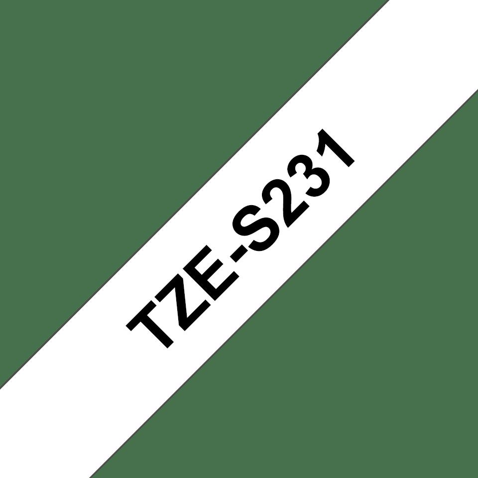 Cassette à ruban pour étiqueteuse TZe-S231 Brother originale – Noir sur blanc, adhésif puissant, 12mm de large 3