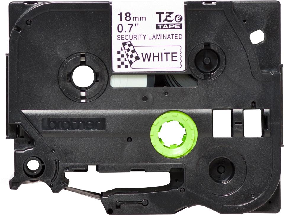Cassette à ruban pour étiqueteuse TZe-SE4 Brother originale – Noir sur blanc, 18mm de large